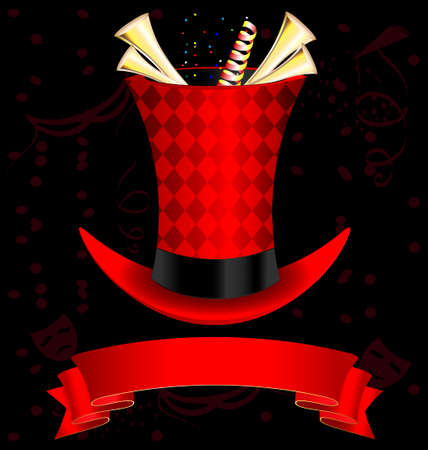 tophat: dark background, magic top-hat and golden fanfare