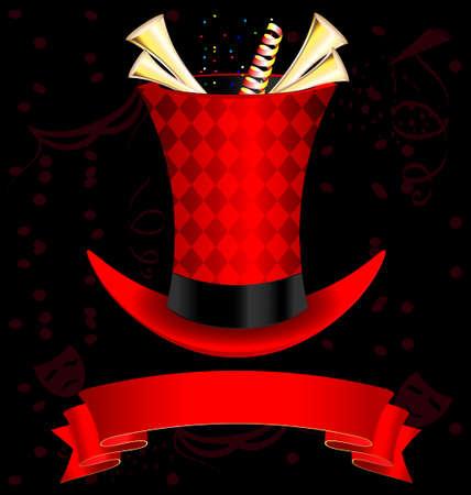 fanfare: dark background, magic top-hat and golden fanfare