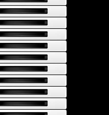 melodious: black background and abstract black and white piano keys Illustration