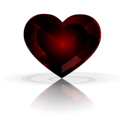expose: white background and big dark red heart-crystal