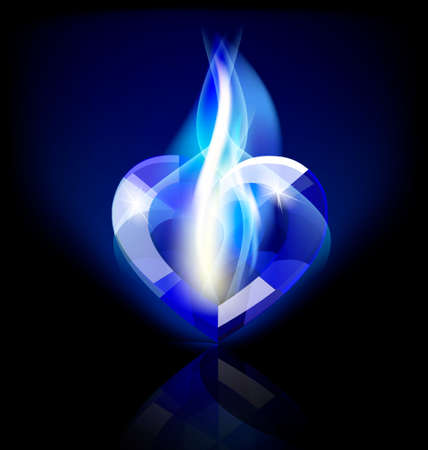 on a dark background a big blue flaming heart-crystal Vector