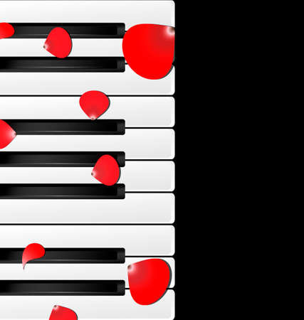 abstract piano white-black keys and red petals Vector