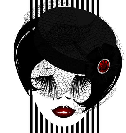 outlines womans face with black old-fashioned hat and veil Vector