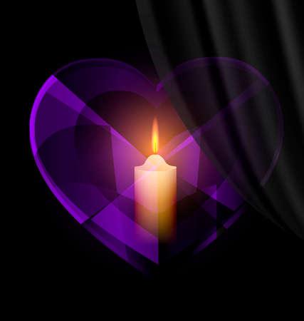 donkere achtergrond en donkere paars hart-kristal met kaars binnen