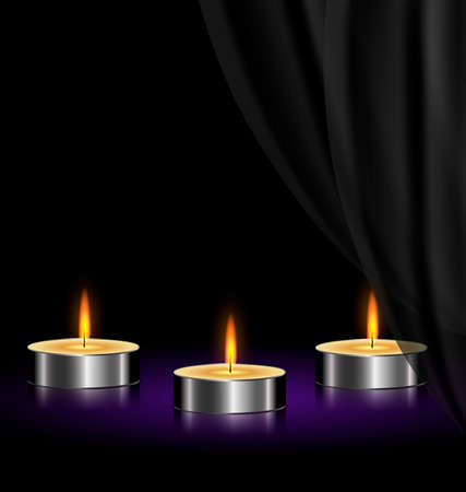 combust: on a black background are three burning candles Illustration