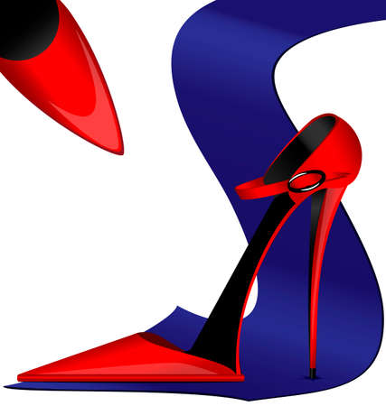 neckcloth: red ladys shoes and blue mans tie