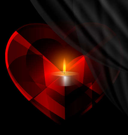 wax glossy: dark background and red heart-crystal with candle inside Illustration