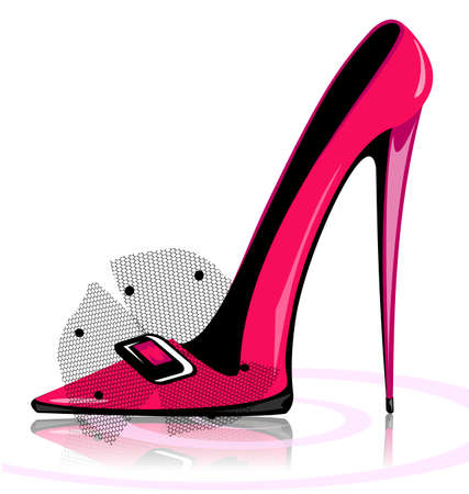 heelpiece: on a white background there is pink ladys shoe
