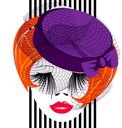 visage d'une dame rouge avec un chapeau démodé pourpre et un voile