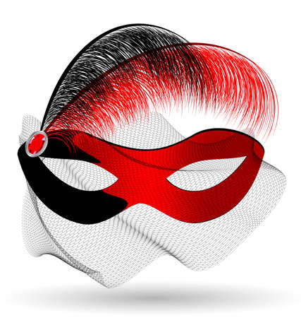 a red-black carnival half mask with veil and feathers