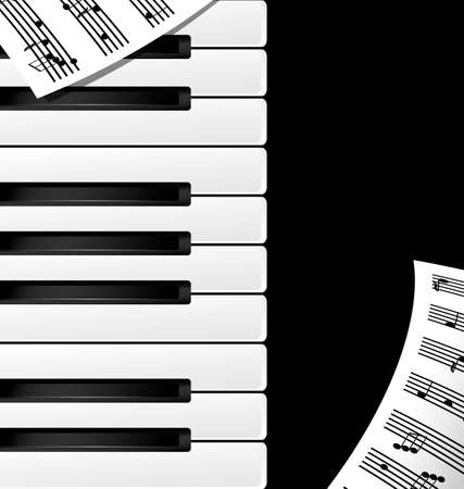 key board: abstract black and white piano keys and note