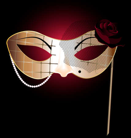 mummers: beige carnival half mask of abstract lady Illustration