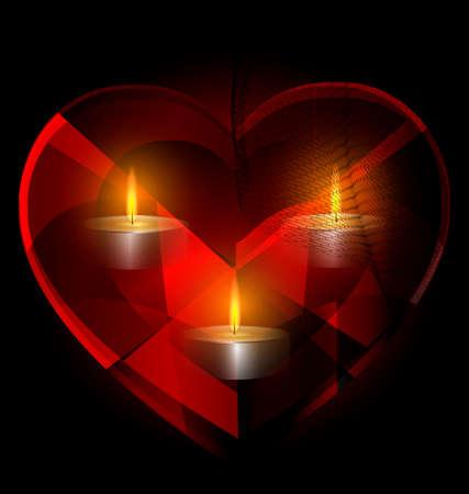 encendedores: fondo oscuro y el rojo corazón de cristal con tres velas dentro Vectores