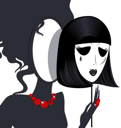 검정 - 흰색 마스크를 가진 숙녀 거울의 추상 실루엣
