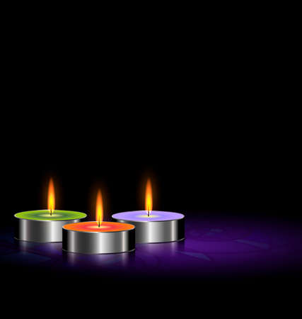 on a black background there are three burning candles
