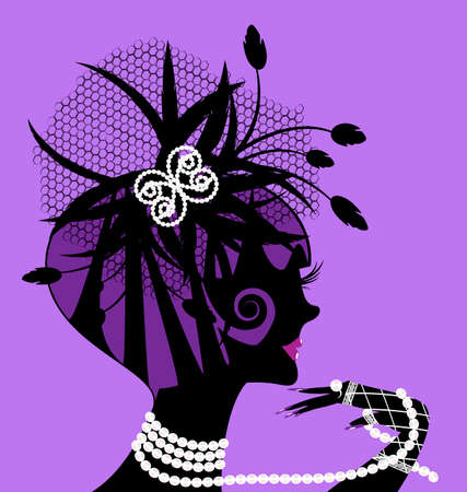 abstract black silhouette of violet girl and beads