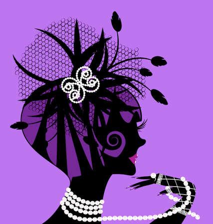 silueta negro resumen de la chica violeta y perlas