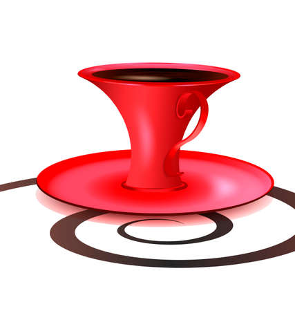 vermeil: on a white background there is red cup of coffee