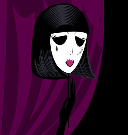 dark haired woman: abstract silhouette of mask of black-haired gothic  lady Illustration