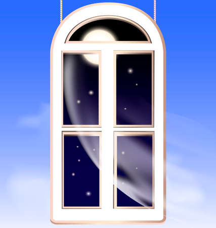 curtian: abstract nightly sky and window in the night