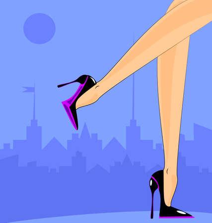 piernas de mujer: paisaje de la ciudad abstracta y piernas femeninas