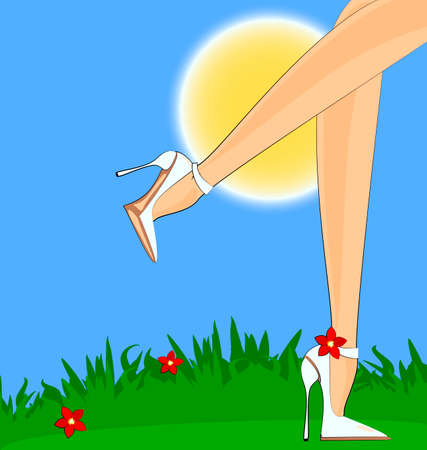 big woman: nature and abstract female legs with red flower