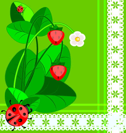 lady beetle: green background with lace, strawberry and ladybug