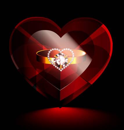 gran corazón de cristal de color rojo oscuro con un anillo de oro dentro de
