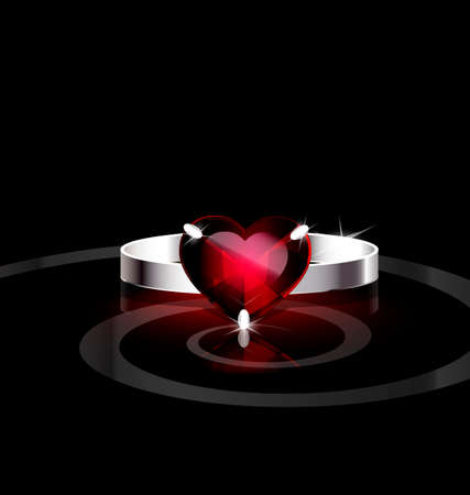 dark background and silver ring with red heart Vector
