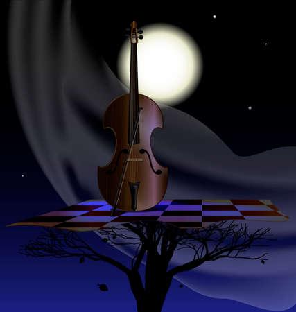 húros: éjszaka, hold, absztrakt fa és vonós eszköz