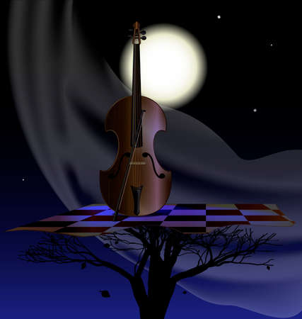stringed instrument: night, moon, abstract tree and stringed instrument Illustration