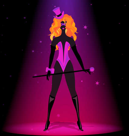 burlesque: black silhouette of red-haired cabaret girl in purple