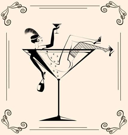 sexy meisje: retro sexy meisje in het grote glas met drank