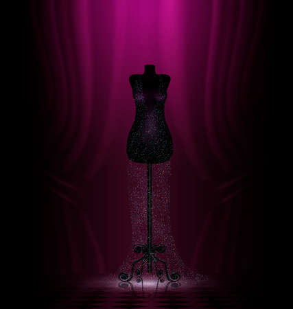 transparent dress: dark room and black craft dummy with transparent dress