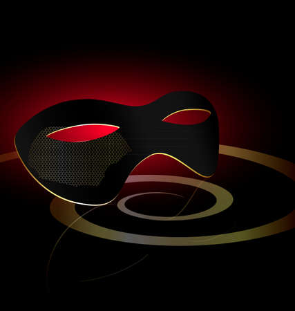 felicitate: dark background and carnival black half mask with golden mesh