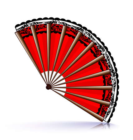 vermilion: red wooden fan with a black lace