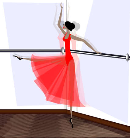exercise room and dancing ballet dancer in red dress Çizim