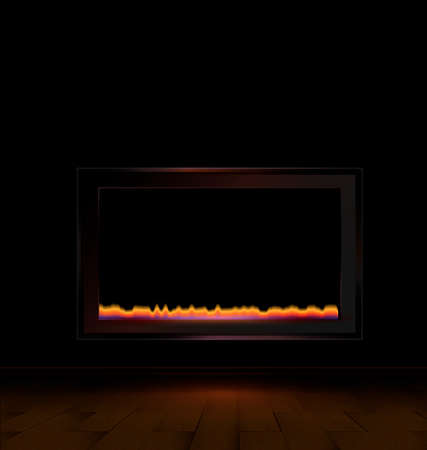 the abstract dark room with a electric fireplace Vector