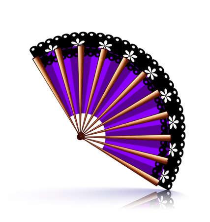black fan: purple wooden fan with a black lace