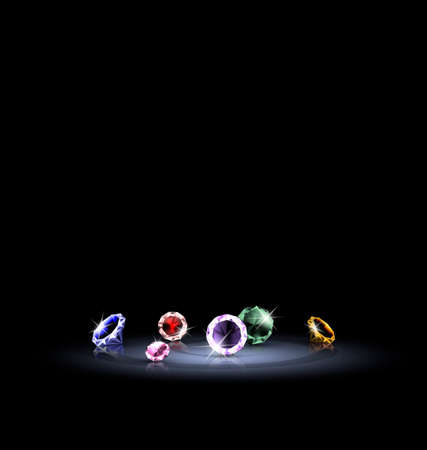few: black background and few colorful jewelry crystals Illustration