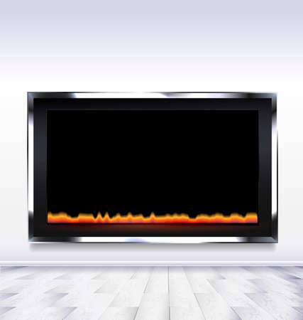 fireplace lighter: the abstract white room with a electric fireplace Illustration