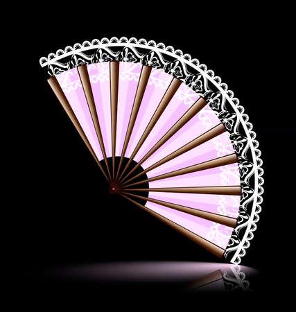 open fan: pink wooden fan with a white lace