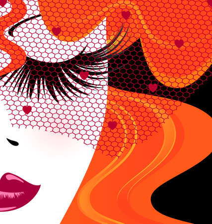 womens work: face of red-haired girl with red veil