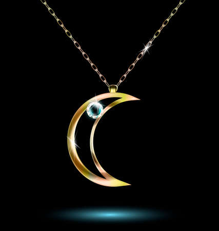 half and half: pendant with a large crescent Illustration