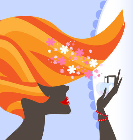 red haired: lady and perfume Illustration