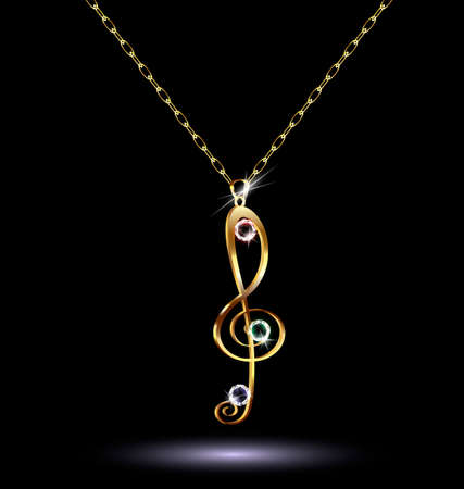 neckband: pendant with a treble clef Illustration