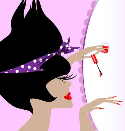 dark haired woman: lady and nail polish