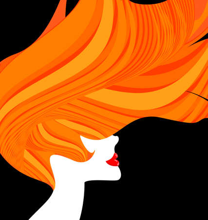 dark haired woman: red-haired head of a woman