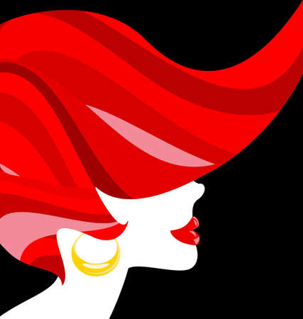 red haired girl: redheaded woman Illustration
