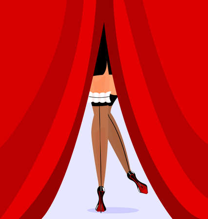 feet and red curtain Illustration